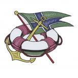 Aufnäher Patches Rettungsring Anker Flagge Gr. ca. 11,4 x 8,7 cm 20706