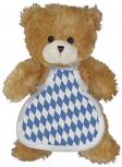 Plüsch - Teddybär mit Schürze im blau weißen Rautenmuster - 27036