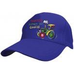 Baumwollcappy - Kinder Cap mit buntem Stick - Traktor fahren ist cool - 69116 blau - Baumwollcap Baseballcap Schirmmütze Hut Kids
