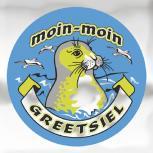(301493) Auto-Aufkleber rund mit Spiegelfolie - moin-moin GREETSIEL - Gr. ca. 7.5cm
