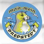 """Auto-Aufkleber Stick Applikation Emblem Aufkleber rund mit Spiegelfolie """"moin-moin BREDSTEDT"""" NEU Gr. ca. 7.5cm (301499)"""