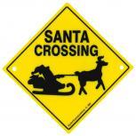 Adventure-Schild incl. 2 Saugnäpfe Hinweisschild Santa Crossing Rentier Schlitten 309130/1 Gr. ca. 22,5cm x 22,5cm