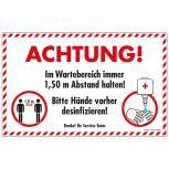 Warnschild  Hinweisschild - Achtung Abstand halten....desinfizieren - Gr. ca. 40 x 25 cm - 309821