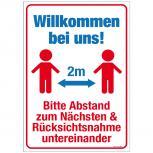 Warnschild  Hinweisschild - Bitte Abstand zum Nächsten halten - 2m ... - Gr. ca. 50 x 70 cm - 309833
