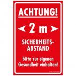 Warnschild  Hinweisschild - Achtung 2m Sicherheitsabstand.. - Gr. ca. 20 x 30 cm - 309897