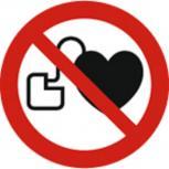 Schild Verbotszeichen nach ISO 7010 - kein Herzschrittmacher oder Defi - 320487 rund Gr. ca. 20cm