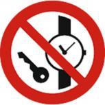 Schild Verbotszeichen nach ISO 7010 - Metallteile/Uhren verboten - 320488 rund Gr. ca. 20cm