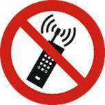Schild Verbotszeichen nach ISO 7010 - eingeschaltete Mobiltelefone verboten - 320492 rund Gr. ca. 20cm