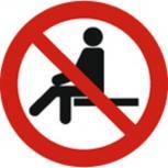 Schild Verbotszeichen nach ISO 7010 - Sitzen verboten - 320496 rund Gr. ca. 20cm