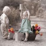 Servietten 20er Set - TISSUE mit Motiv - Kleinkinder mit Blumen - 33703 Gr. ca. 33x33cm