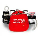 Trinkhelm Spaßhelm mit Printmotiv - mehr Bier für den POLIER - 11859 - versch. Farben zur Wahl rot
