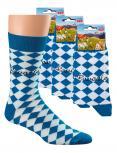 Socken 3er-Pack Unisex mit Print - Bavaria blau-weiß Rauten - 56355/4 Gr. 36-47