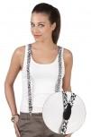 Hosenträger mit Print Hosenhalter - Leoparden Muster - 06873 weiß
