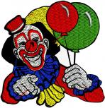 AUFNÄHER - CLOWN - 04301 - NEU Gr. ca. 8 cm x 8 cm - Patches Stick Applikation Bügel-Emblem