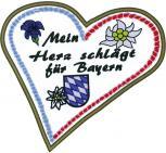 Rückenaufnäher Aufnäher - Mein Herz schlägt für Bayern - 08080 - Gr. ca. 22 x 21 cm