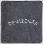 Schurwoll-Sitzkissen mit Einstickung - Pensionär - 30011