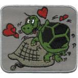 AUFNÄHER - 2 Liebende Schildkröten - Gr. ca. 9cm x 7,5cm (00822) Applikation Patches Stick