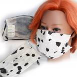 Textil Design-Maske waschbar aus Baumwolle mit Innenvlies - Schwarz-Weiß gefleckt Dalmatiner + Zugabe - 15484