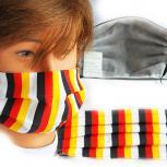 Leicht beatembare Maske Textilmaske aus Baumwolle mit Innenvlies waschbar - gestreift Gelb-Rot-Schwarz - 15470