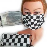 Textil Design-Maske waschbar aus Baumwolle mit Innenvlies - Schwarz-Weiß Kariert Zielflagge + Zugabe - 15408