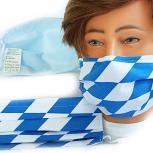 Textil Design-Maske waschbar aus Baumwolle mit Innenvlies - bayerisch Raute groß Blau-Weiss + Zugabe - 15449