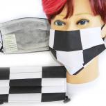 Textil Design-Maske waschbar aus Baumwolle mit Innenvlies - Schwarz-Weiß Kariert Groß 15576