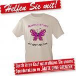 T-Shirt unisex mit Print - Menschlichkeit ist grenzenlos - 10142 cremefarben - Gr. S-XXL