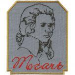 Aufnäher - Mozart grau hinterlegt - 00874 - Gr. ca. 9 x 7 cm - Patches Stick Applikation