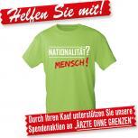 T-Shirt unisex mit Druck - Nationalität MENSCH - 10141 apfelgrün - Gr. S-XXL