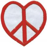 AUFNÄHER - Peace Heart - 00905 - Gr. ca. 8 cm - Patches Stick Applikation