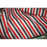 Stoff Meterware Dekostoff weiß-grau-rot-schwarz gestreift ca. 140cm