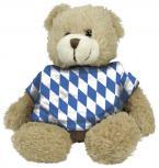 Plüsch - Teddybär mit Shirt im blau weißen Rautenmuster - 27049