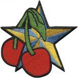 Aufnäher - Stern mit Kirschen - 04833 - Gr. ca. 7 x 7,5 cm - Patches Stick Applikation