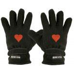 Handschuhe Fleece mit Einstickung Herz rot 31506 schwarz