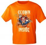 T-Shirt mit Print - Karneval - Clown Inside - 09523 - versch. Farben zur Wahl - Gr. S-2XL Orange / L
