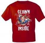 T-Shirt mit Print - Karneval - Clown Inside - 09523 - versch. Farben zur Wahl - Gr. S-2XL rot / S