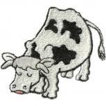 Aufnäher - KUH schwarz-weiß gefleckt -  Gr. ca. 8cm x 7cm - 00947